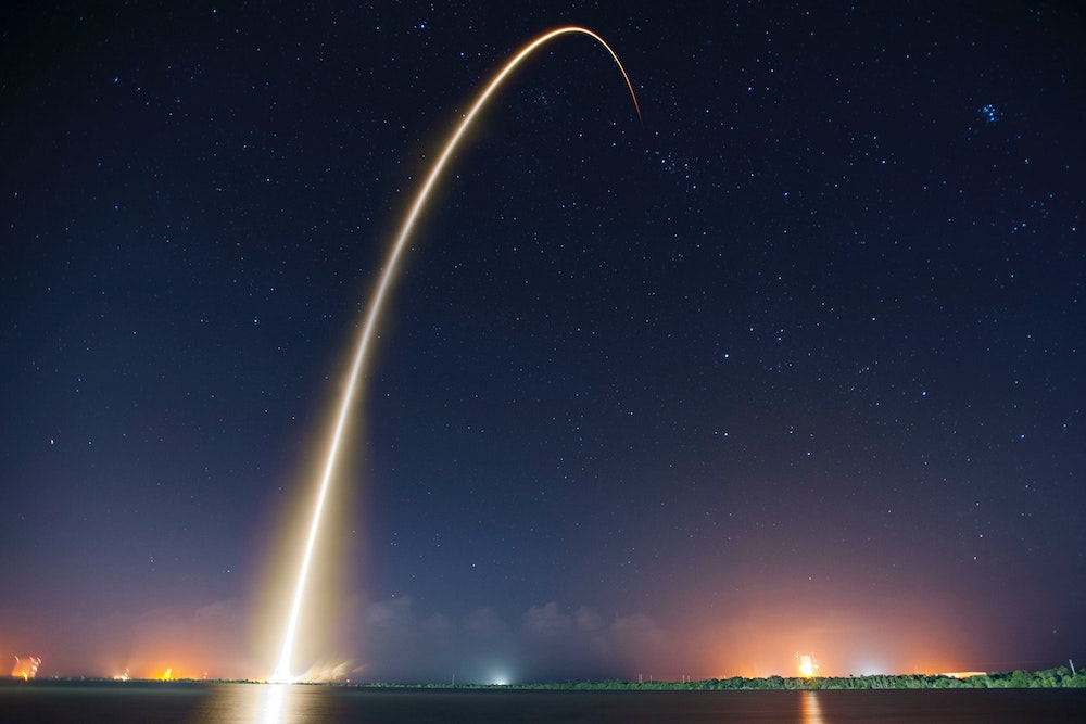 Blog header image showing a rocket launch for the post 5 Great Reasons to Attend Acumatica 2020 R2 Virtual Launch Event